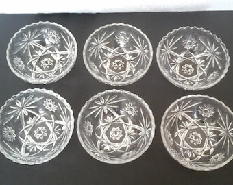 6 Star of David Bowls, 60s Oatmeat Glass  5 1/4 Inch Clear Glass Mid Century Bowls