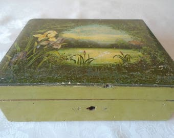 green hand painted box with river scene