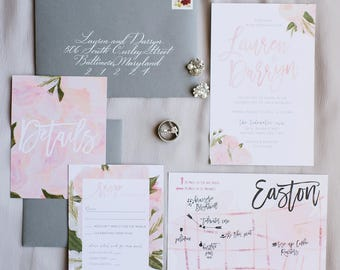 floral wedding invitations // watercolor wedding invites // brush lettering // floral // hand painted // printable // custom