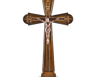 "12"" Carved Ukrainian Wooden Standing Crucifix- SKU # crm07"
