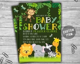 Baby Shower - Jungle - Safari - Invitation - Printable - Digital - Animals - Baby Shower Invite - 063