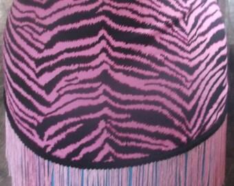 Pink black tiger stripe hip scarf bellydance