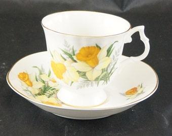 Blue Bird Fine Bone China Cup and Saucer Daffodil MADE IN CANADA