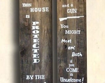 Gun Signs - Western Signs - Man Cave Decor - This House is Protected By the Good Lord and a Gun Sign - Birthday Gift - Father's Day Gift