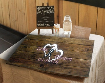 Personalized Alternative Wedding Guest Book Sign - Personalized Wedding Guest Book Sign - Two Hearts Sign -  Wedding Gift Idea