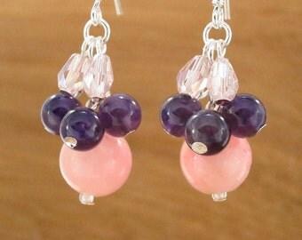 EARRINGS: pink, purple, clear pink, glass bead earrings