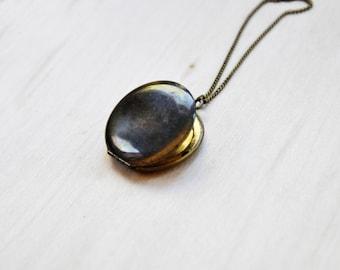 Vintage Brass Locket, long necklace, Pendant Necklace, locket necklace, Vintage necklace, Boho necklace
