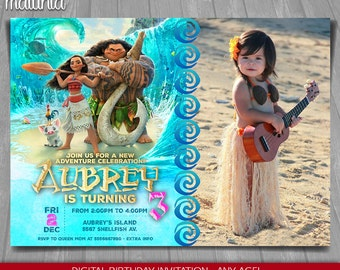 Moana Invitation - Disney Moana Invite - Moana Birthday Invitation - Disney Moana Birthday Party with photo (MOIN03)
