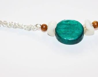 Bohemian bracelet - turquoise wood
