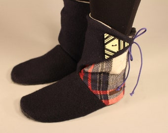 Slippers black with recycled wool and leather