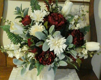 Handmade Red/Creme silk floral arrangment