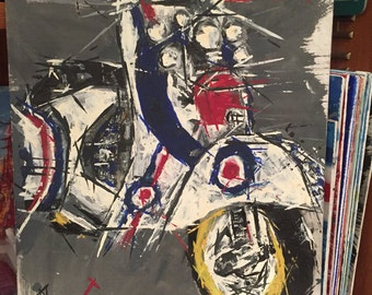 Moped painting // Mod Scooter // Motorbike art // Mods and Rockers //