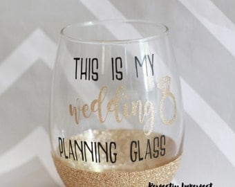 Stemless Wine Glass/Glitter Dipped Wine Glass/Glitter Wine Glass/Wedding Planning Glass/Engagement Gift/Bridal Shower Gift/Gift for Bride