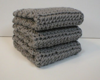 Handmade Crochet Cotton Dishcloths or Washcloths, Set of 3: Medium Silver Grey (Dishcloths2129)