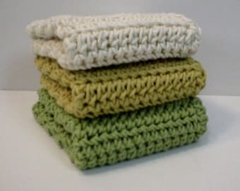 "Handmade Crochet Cotton Dishcloths or Washcloths 3-Pk, 1-Honeydew Green, 1-Yellow, 1-Cream, 7-1/2"" (#5927)"