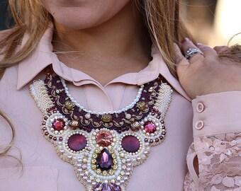 Burgundy beaded necklace