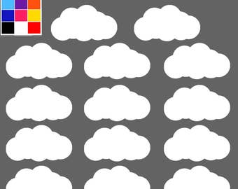 Cloud Decals x 14, Cloud Decals For Nursery,, Cloud Stickers, Cloud Decor, Cloud Stickers, Cloud Decal Set, Cloud Wall Stickers