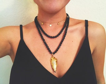 Black Crystal Beaded Gold Arrowhead Necklace Long or Wrap