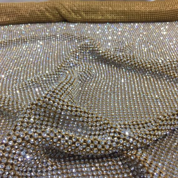 Gold Rhinestone Sheet Gold Crystal Fabric Gold