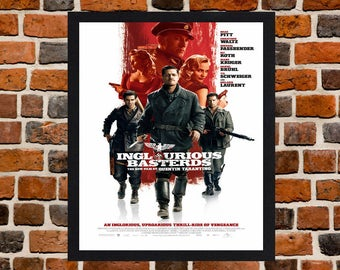 Framed Inglourious Basterds Quentin Tarantino & Brad Pitt War Movie / Film Poster A3 Size Mounted In Black Or White Frame (Ref-1)