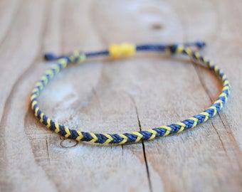 Thin waxed string bracelet slim mens bracelet mens friendship bracelets blue/yellow braided bracelet mens anklets men gifts