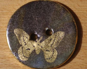 Handmade Ceramic Button Round 24k Gold Butterfly Large 35mm Button Porcelain Sewing Knitting Crochet Fibre Pottery Button Autumn Brown