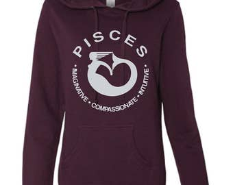 PISCES - What's Your Sign Blackberry Hoodie, purple hoodie, zodiac hoodie, sign hoodie, zodiac sweatshirt, pisces hoodie, pisces sweatshirt