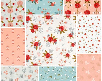 Custom vintage flowers baby girl patchwork blanket, quilt in pink, white, blue, red and green