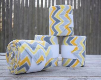 Grey & Yellow Chevron Polo Wraps