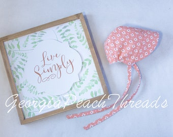 0-3 month spring time bonnet *floral *pink* cute * pioneer * photography prop