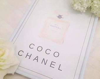 Pink, Blush, Coco Chanel No 5 Perfume Bottle Framed Print - Scandi, Pretty Design, Chic - Glam Water colour Print