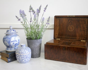 Antique Victorian Elm Tea Caddy with Fine Inlay, c.1840