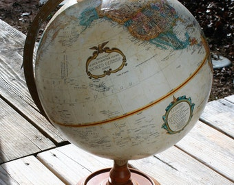 Globe, Vintage Replogle World Globewith wood stand and metal measure bar