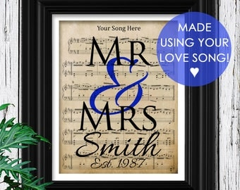 YOUR WEDDING SONG | Sheet Music on Cotton Art Paper | 2nd Anniversary Gift | Unique Gifts for Men | 2 Year Anniversary | Husband Anniversary