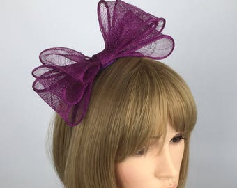 Simple Bow magenta fascinator pink Bow on Aliceband hair band Sinamay Fascinator wedding day fascinator mother of bride Ascot races