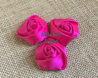 Hot Pink Mini Rolled Rosette Satin Flowers, 1.5  inch, Satin Flowers, Fabric Flower