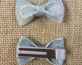 Silver Glitter Bow with Clip- 2 Inch Hair Clip-  Mini Glitter Hair Clip- Glitter Bow- Glitter Hair Clip- Wholesale Hair Clips