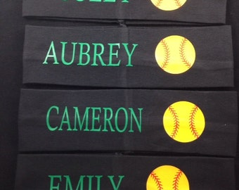 "Softball 2 1/2"" Personalized Name/Team Name Sports Headband"
