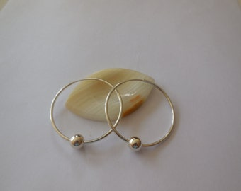 Sterling Silver , Sterling Silver Endless Hoop Earrings,  Silver Tube Earrings, Hollow Tubes, Silver Plain Hoop Earrings, Silver Round Beads