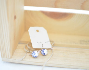Blue Cherry Blossom Porcelain Earrings