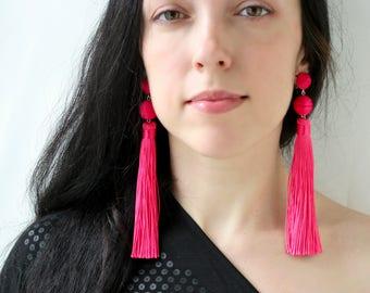 Tassel earrings Extra long earrings Fuchsia earrings  Bon bon earrings Hot pink tassel clip on earrings Statement ball lightweight earrings