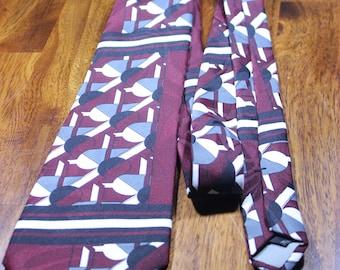 Retro Tie, Burgandy Tie, Ketch Classics Necktie, Polyester Vintage Tie,