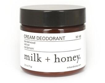 milk + honey Cream Deodorant, Sandalwood, Vetiver, Cardamom