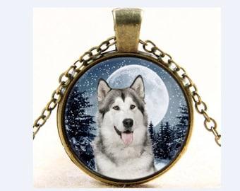 Collar dog glass cabochon necklace Husky Glass Bronze