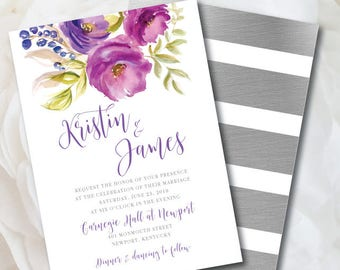 Floral Wedding Invitation, Purple Wedding Invitation Suite, Purple and Silver Wedding, Watercolor Wedding Invitation, Purple Wedding