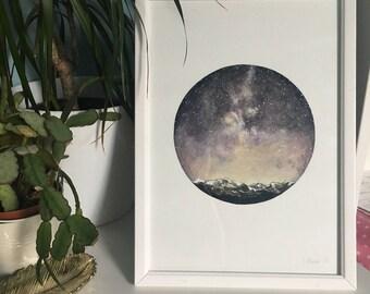 Original Watercolour Painting - Purple Night Sky