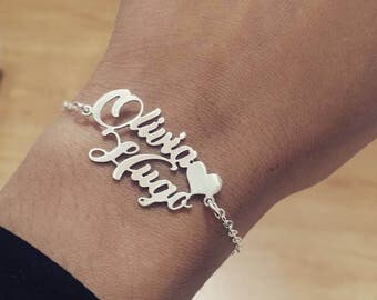 Personalized bracelet with two names-silver
