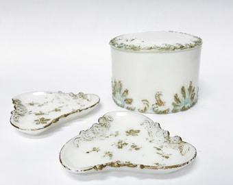 Victorian gilded milk glass vanity set