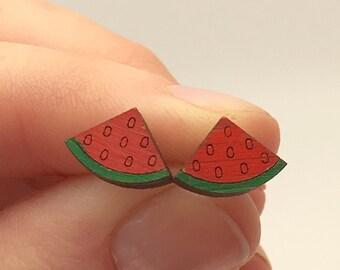 Wooden watermelon earrings
