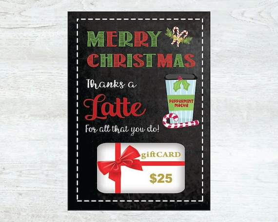 PRINTABLE Christmas Gift Card Holder Thanks A Latte INSTANT
